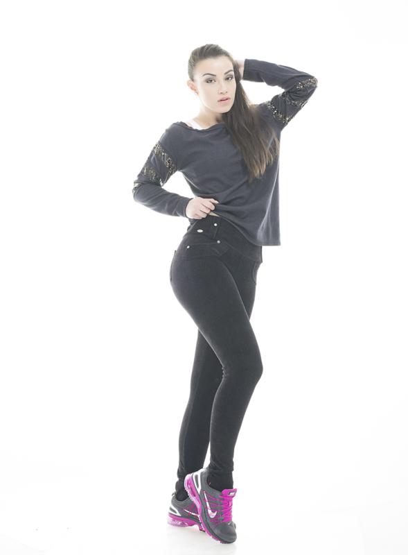 Legging veludo c/ bolso